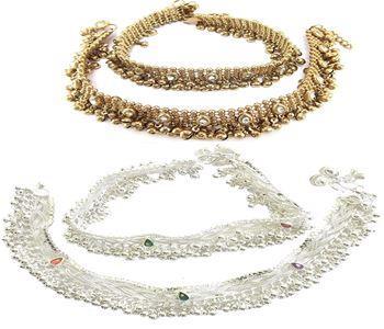 Golden or Silver Alloy  Kundan Anklet